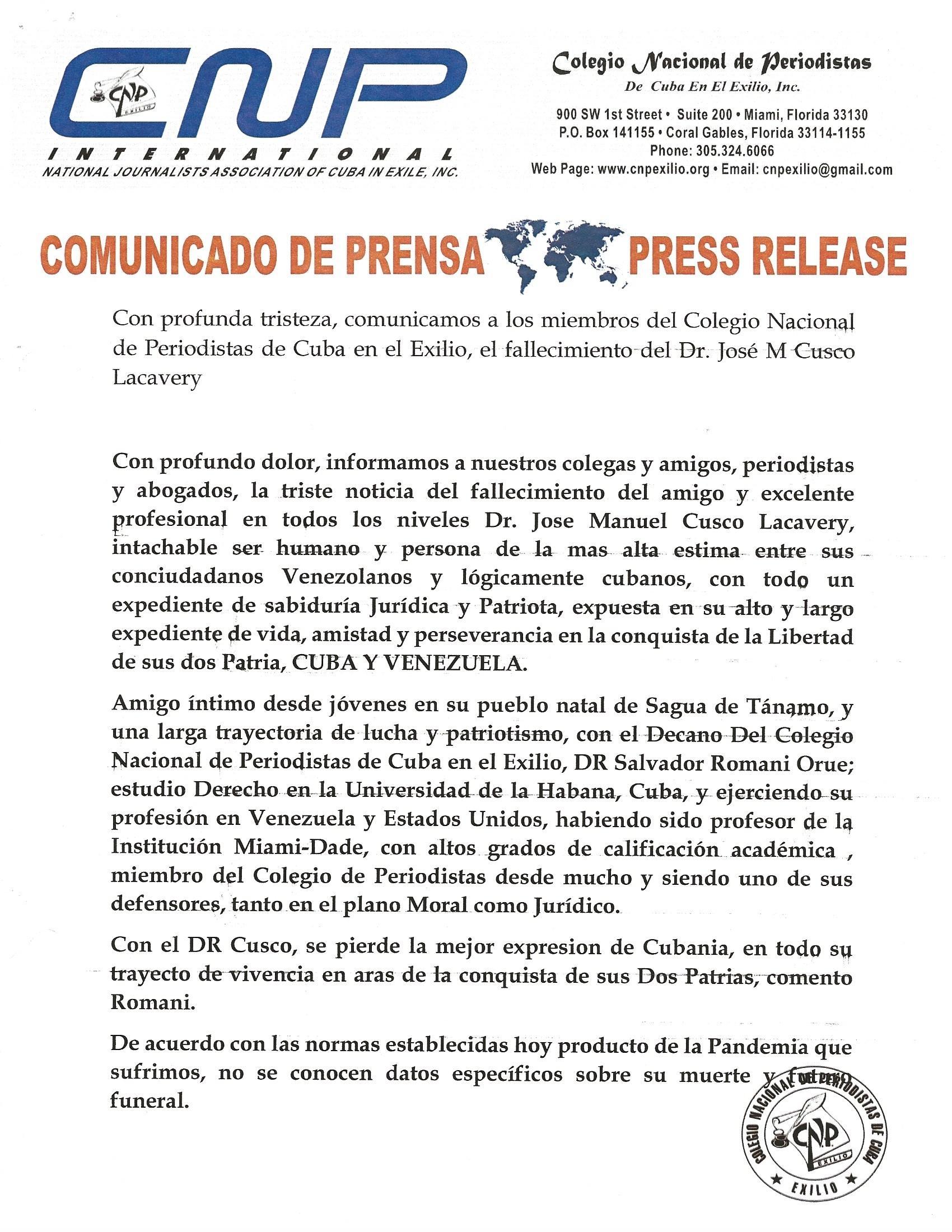 Fallecimiento del cubano venezolano Dr. José Manuel Cusco. Documento enviado a CDV. ORG por Félix José Hernández.      cubademocraciayvida.org                                                                                        web/folder.asp?folderID=136