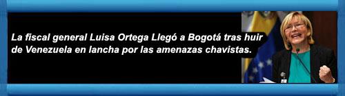 VENEZUELA: La fiscal general Luisa Ortega llegó a Bogotá tras huir de Venezuela en lancha por las amenazas chavistas. La funcionaria destituida por el dictador Maduro aterrizó en Colombia este viernes con un vuelo privado desde Aruba. cubademocraciayvida.org web/folder.asp?folderID=136